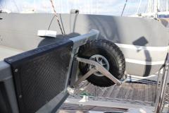 3D tender folding dinghy wheel up