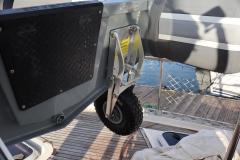 3D tender folding dinghy wheel down
